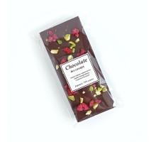 Настоящий шоколад ручной работы Малина фисташка, 50 гр., без сахара