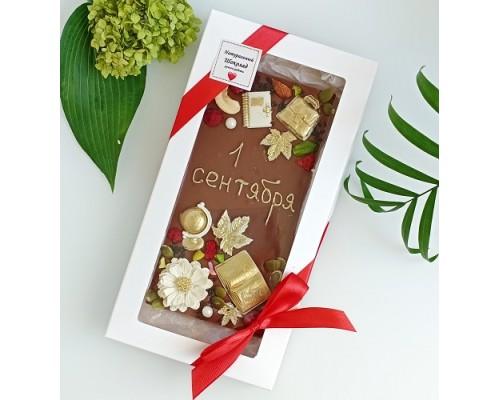Шоколадная открытка на день учителя молочный шоколад