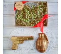 Шоколадная фигурка мужчине Пистолет и граната, 150 гр