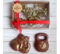 Шоколадная фигурка мужчине Боксерские перчатки и гиря, 150 гр