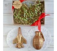 Шоколадная фигурка мужчине Самолет и граната, 150 гр