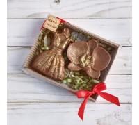 Шоколадная фигурка девушке Платье и орхидея, 150 гр
