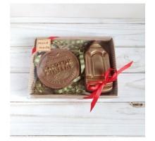 Шоколадная фигурка на день учителя на 1 сентября медаль Золотой учитель и карандаш, 140 гр
