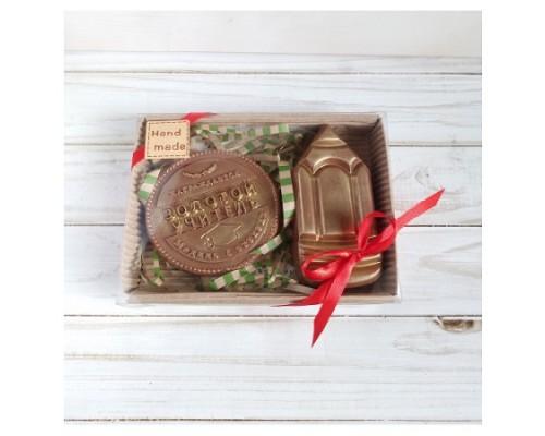 Шоколадная фигурка на 1 сентября медаль Золотой учитель и карандаш