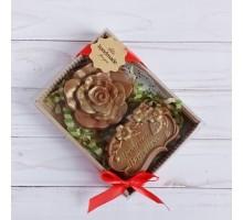 Шоколадная фигурка Любимой бабушке с орхидеей, 140 гр