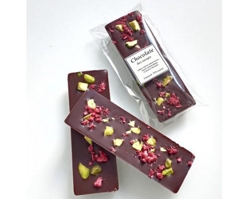 Натуральный шоколад ручной работы Малина фисташка 25 гр.