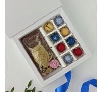 Шоколадный набор Открытка и 8 корпусных конфет с начинкой