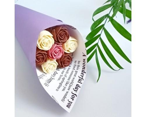 Букет из шоколадных роз (белый, молочный и рубиновый)