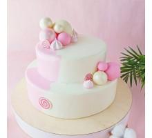 Торт 2 ярусный для девочки на день рождения вес 3 - 3,2 кг